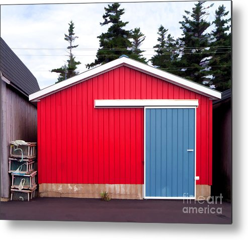 Red Metal Print featuring the photograph Red Fishing Shack Pei by Edward Fielding