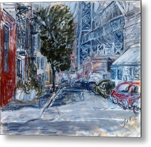 Cityscape Industrial Tree Cars Blue Grey Bridge Metal Print featuring the painting Williamsburg2 by Joan De Bot