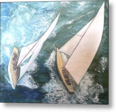 Sailing Metal Print featuring the painting America by Dan Bozich