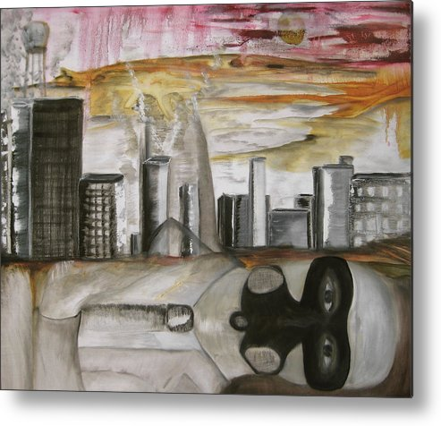 Apocalypse City End Futurism Inch Nails Nin Nine Oil Painting Times Year Zero Metal Print featuring the painting Another Version Of The Truth by Darkest Artist