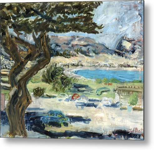 Tree Bay Leaves Shadow Cars Parking Place Hills Bushes Heat Metal Print featuring the painting Apollo Bay by Joan De Bot