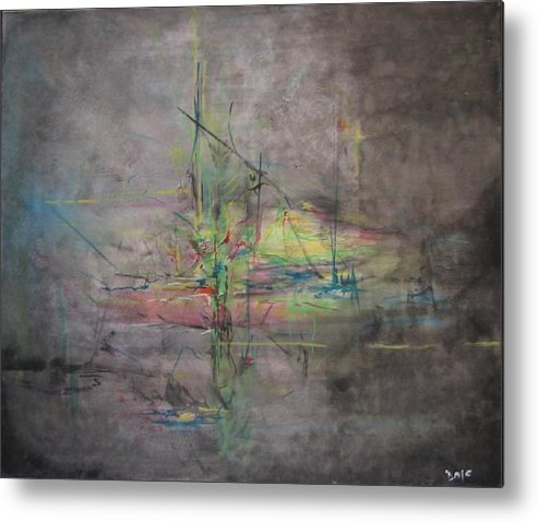 Abstract Metal Print featuring the painting Awakening Abstract 1 Black Background Bright Detail by Lizzy Forrester