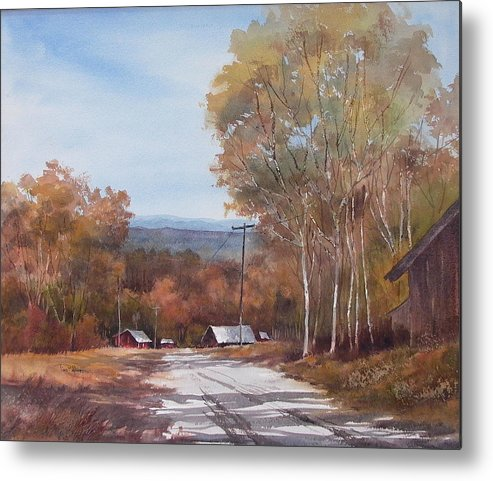 Landscape Metal Print featuring the painting Awesome Autumn by Tina Bohlman
