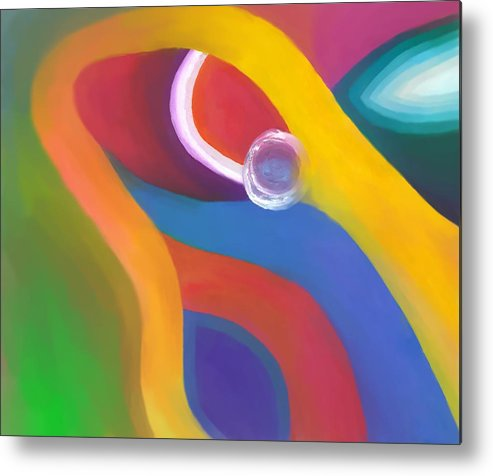 Abstract Metal Print featuring the drawing Being Love by Peter Shor