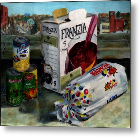 Still Life Metal Print featuring the painting Box Wine With Bread No. 1 by Thomas Weeks