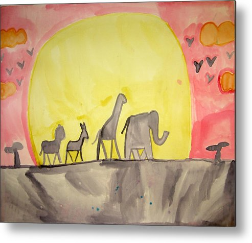 Anumals Metal Print featuring the painting Circle Of Life by Sean Cusack