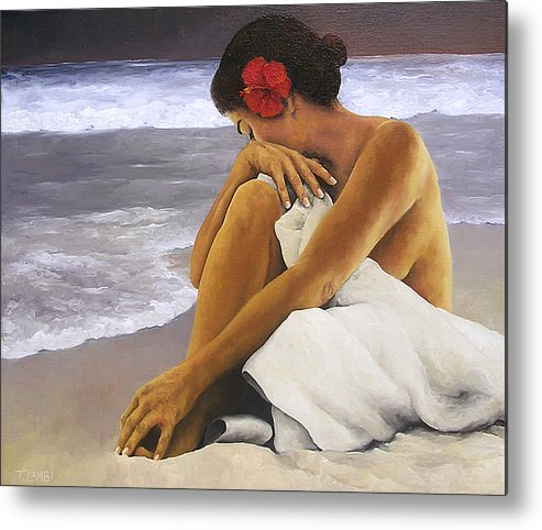 Nude Metal Print featuring the painting Hibiscus Dreaming by Trisha Lambi