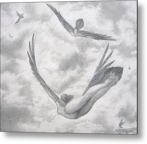 People Flying Metal Print featuring the drawing Icarus Suits by Julianna Ziegler