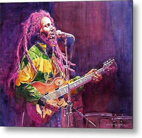 Bob Marley Metal Print featuring the painting Jammin - Bob Marley by David Lloyd Glover
