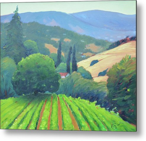 Vinyard Metal Print featuring the painting La Rusticana Afternoon. by Gary Coleman