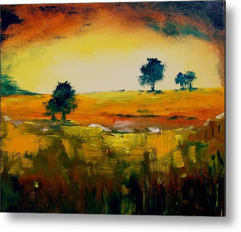 Pond Metal Print featuring the painting Landscape 22 by Veronique Radelet