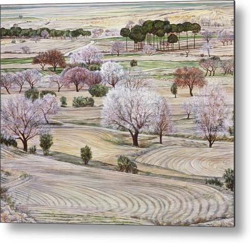 Landscape Metal Print featuring the painting Landscape In Coral And Jade by Richard Bulman