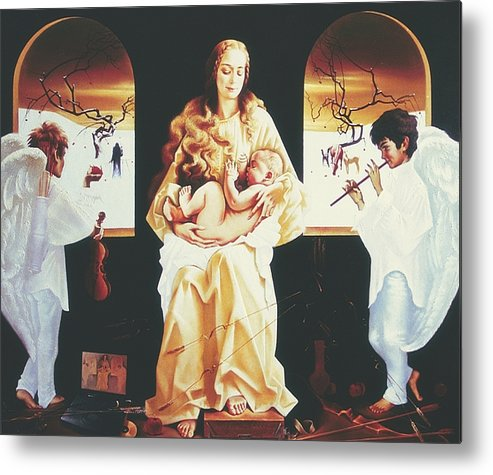 Figures Metal Print featuring the painting Madona 2000 by Andrej Vystropov