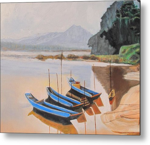 Mehkong Metal Print featuring the painting Mehkong Fishing Boats by Keith Bagg
