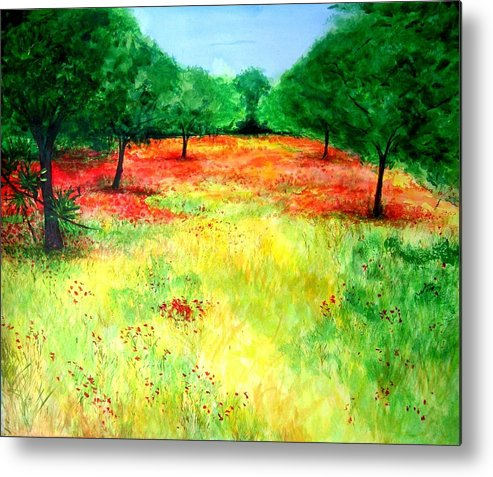 Landscape Metal Print featuring the painting Poppies In The Almond Grove by Lizzy Forrester