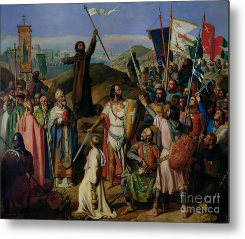 Procession Metal Print featuring the painting Procession Of Crusaders Around Jerusalem by Jean Victor Schnetz