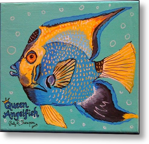 Fish Whimsical Animal Tropical Royalty Queen Metal Print featuring the painting Queen Angelfish by Emily Reynolds Thompson