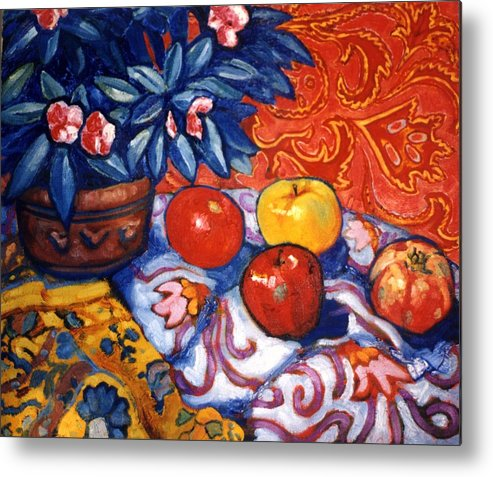 Still Life Metal Print featuring the painting Red Wallpaper by Paul Herman