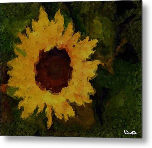 Sunflowers Metal Print featuring the digital art Remembering Van Gogh by Andrea N Hernandez