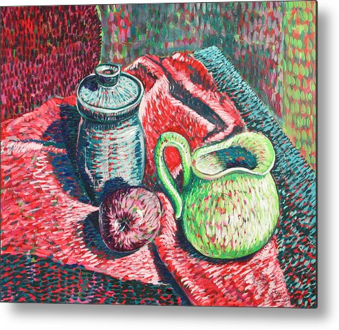 Still Life Metal Print featuring the painting Richards Pitcher In Green by Rollin Kocsis