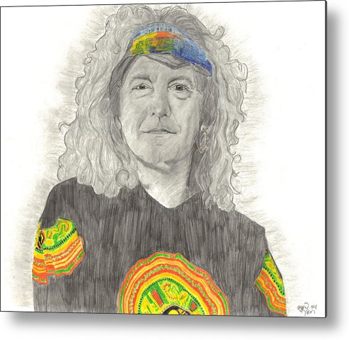 Robert Plant Metal Print featuring the drawing Robert Plant by Bari Titen