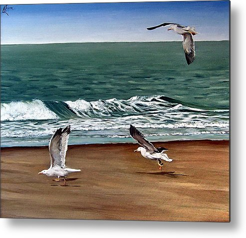 Seascape Metal Print featuring the painting Seagulls 2 by Natalia Tejera