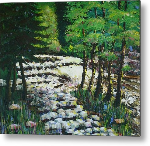 Waterfall Metal Print featuring the painting Sunlit Waterfall by Art Nomad Sandra Hansen