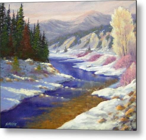 Landscape Metal Print featuring the painting Winter Revisited 070712-97 by Kenneth Shanika