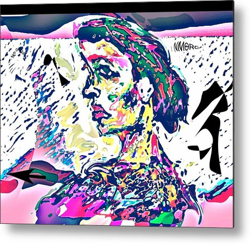 Portrait Metal Print featuring the mixed media Badrya by Noredin Morgan