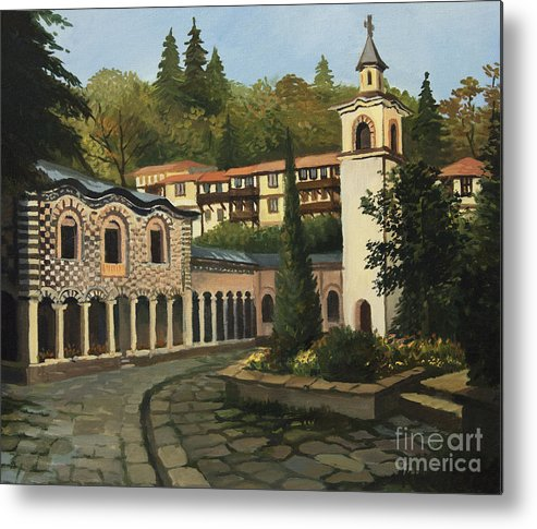Arch Metal Print featuring the painting Church In Blagoevgrad by Kiril Stanchev