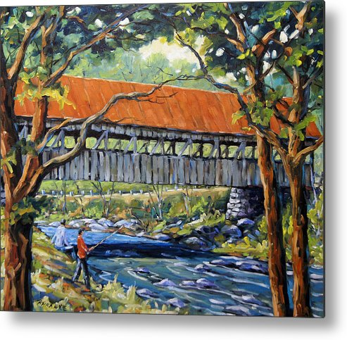 Landscape Metal Print featuring the painting New England Covered Bridge By Prankearts by Richard T Pranke
