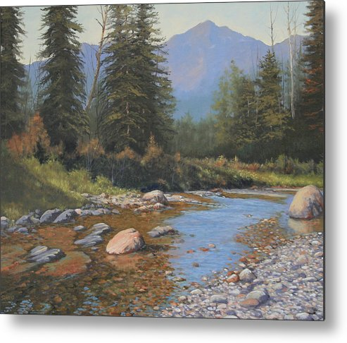 Landscape Metal Print featuring the painting 080323-2420 Tranquility by Kenneth Shanika