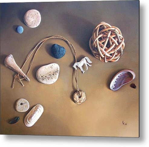 Still Life Metal Print featuring the painting Almost Forgotten Memories by Elena Kolotusha