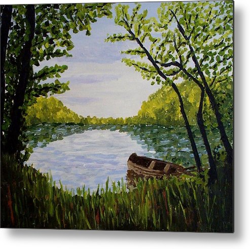 Landscape Metal Print featuring the painting By The Lake by Mats Eriksson