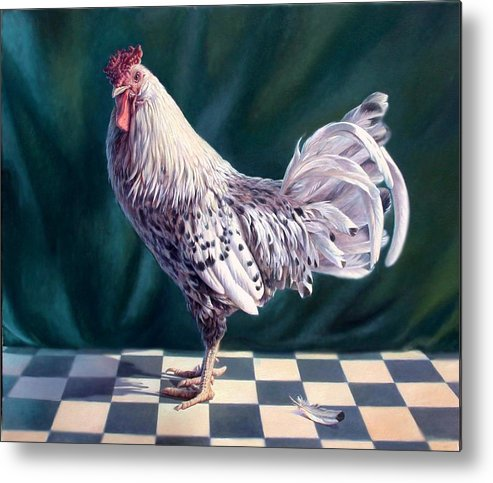Chicken Metal Print featuring the painting Hamburger Rooster by Hans Droog
