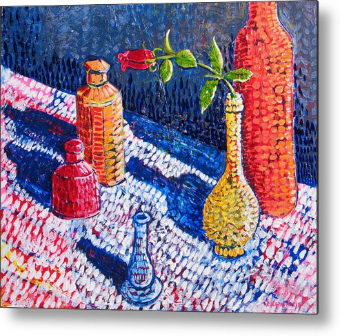 Still Life Metal Print featuring the painting One Rose by Rollin Kocsis