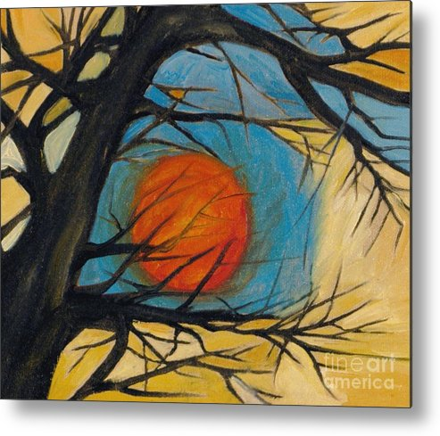Absract Tree Landscape Original Painting Leila Atkinson Moon Metal Print featuring the painting Orange Moon by Leila Atkinson
