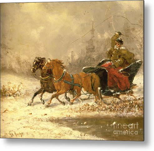 Returning Metal Print featuring the painting Returning Home In Winter by Charles Ferdinand De La Roche