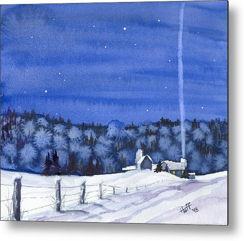 Winter Metal Print featuring the painting Snow In Moonlight by Denise  Hoff