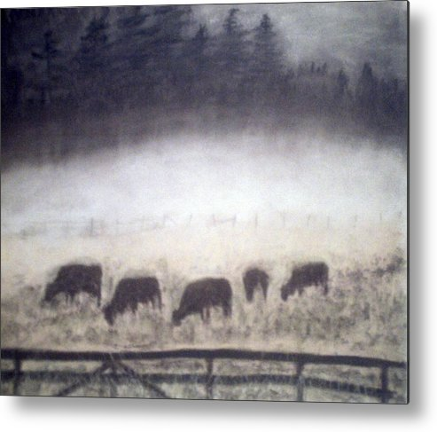 Landscape Metal Print featuring the painting The Grazers by Jack Spath