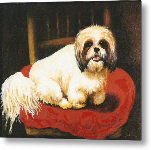 Dog Portrait Artwork Metal Print featuring the painting Sampson by Jordana Sands
