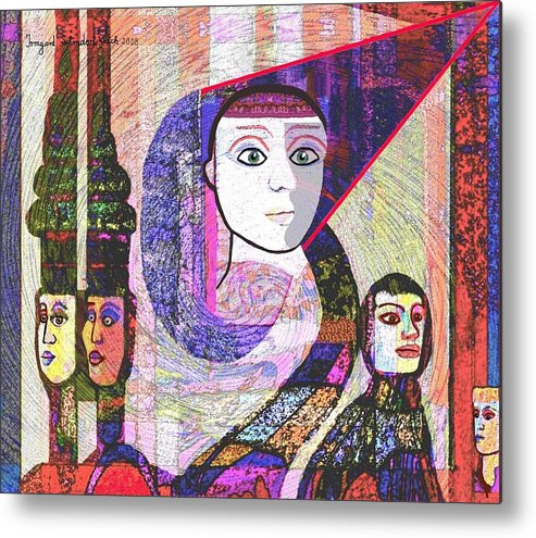 Face Metal Print featuring the digital art 275 - Statuesque by Irmgard Schoendorf Welch
