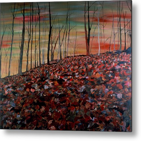 Landscape Metal Print featuring the painting Autumn by Oudi Arroni