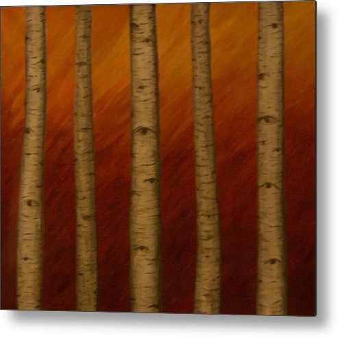 Birch Trees Aspen Landscape Abstract Surreal Metal Print featuring the painting Birch Eyes by Sally Van Driest