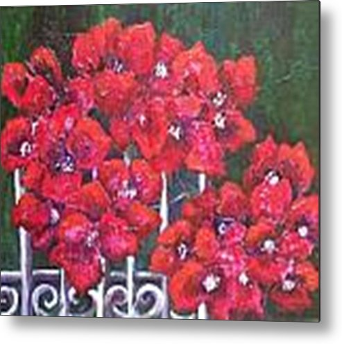 Metal Print featuring the painting Bounganvillia On Fence by Carol P Kingsley