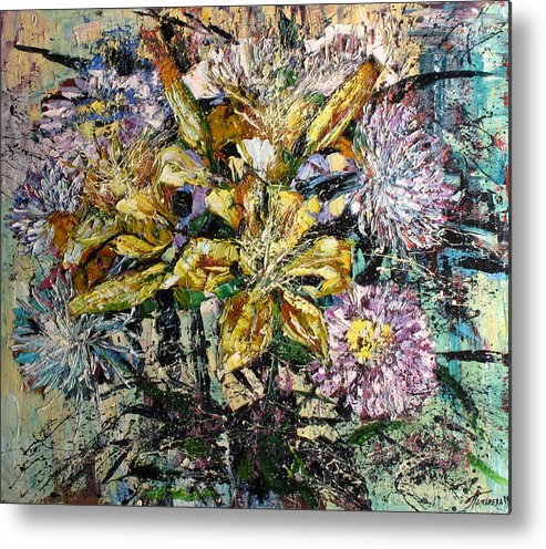 Still Life Metal Print featuring the painting Lilies And Chrysanthemums.1999 by Natalia Piacheva