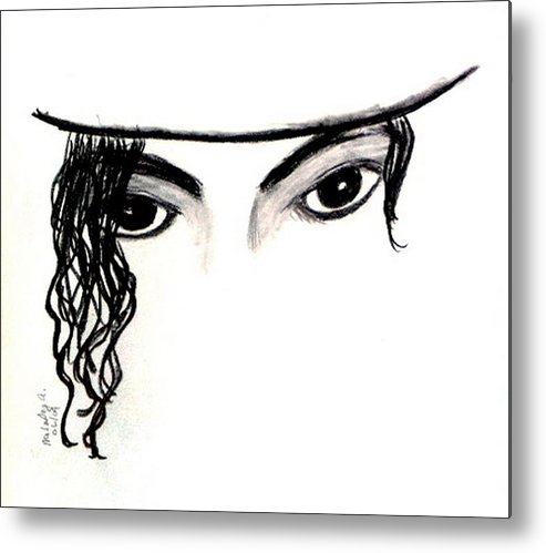 Michael Metal Print featuring the drawing Michael's Eyes by Melody Anderson