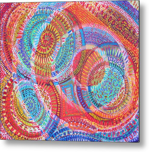 Geometric Metal Print featuring the painting Microcosm Viii by Rollin Kocsis
