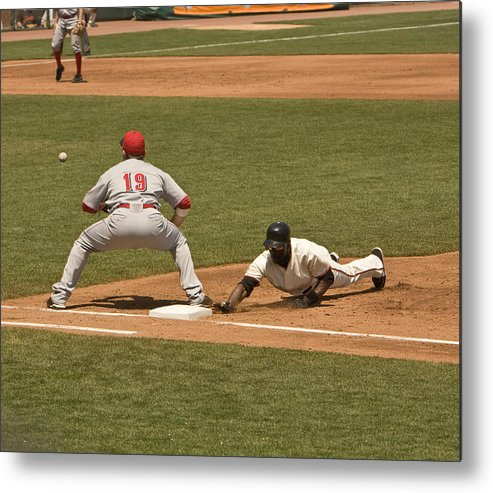 Bag Metal Print featuring the photograph Pickoff Move To 1st Base by Mark Hendrickson