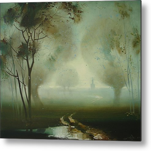 Landscape Metal Print featuring the painting Road by Andrej Vystropov